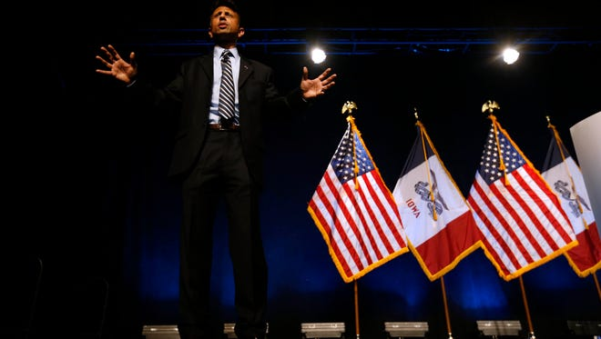 Republican presidential candidate Bobby Jindal, governor of Louisiana, speaks Saturday, Sept. 19, 2015 during the Faith & Freedom Coalition fall dinner at the Paul Knapp Center in Des Moines.