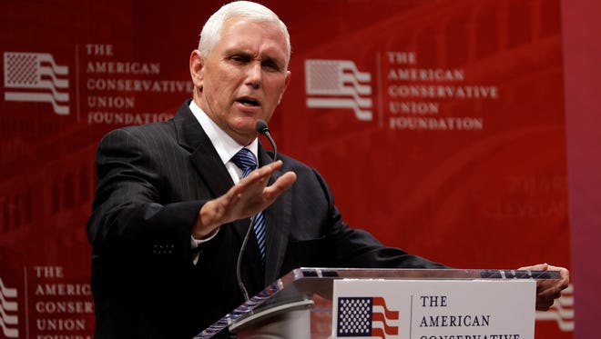 Republican vice presidential candidate Gov. Mike Pence, R-Ind., speaks during a luncheon sponsored by the American Conservative Union Foundation, Tuesday, July 19, 2016, in Cleveland.
