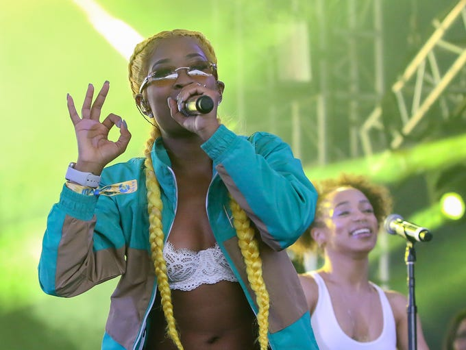In the Boom Boom Tent for DeJ Loaf's performance on