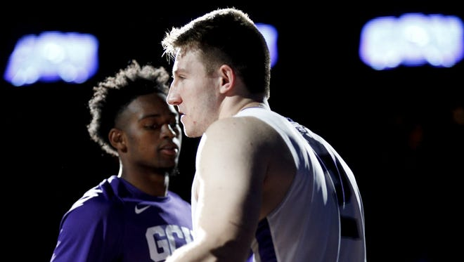 GCU redshirt junior guard Joshua Braun (2) takes the court before a game against Seattle University at GCU Arena in Phoenix on Saturday, Jan. 21, 2017.