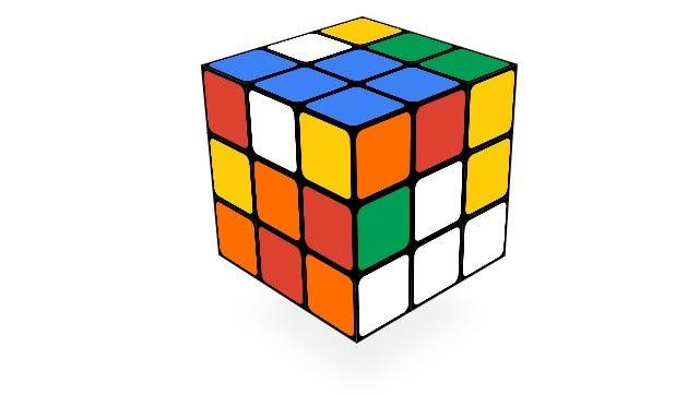 The Google doodle honoring the Rubik's Cube.