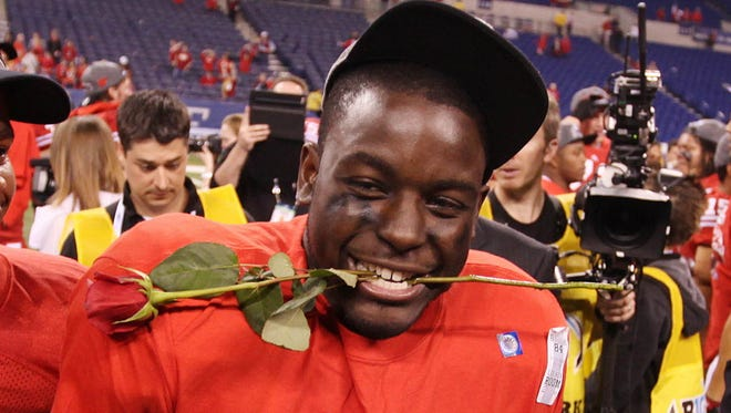 Montee Ball celebrates the Badgers' Big Ten title in 2012 in Indianapolis.