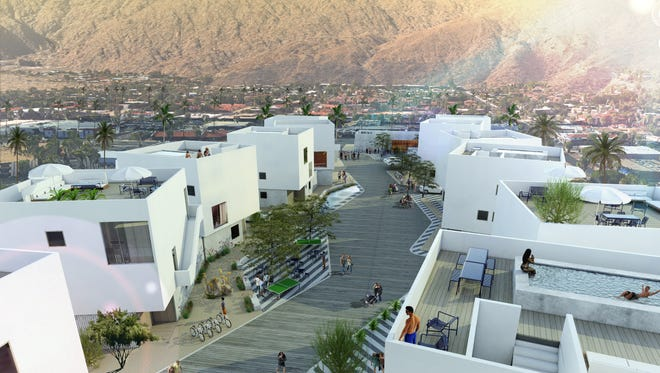 An architect's rendering of a new hotel villa project planned for downtown Palm Springs.