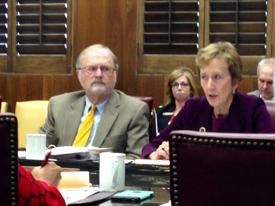 Regent Caven Crosnoe and President Suzanne Shipley at the Nov. 11 MSU board meeting.