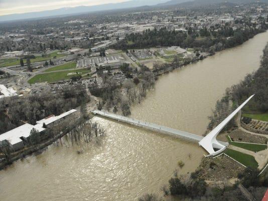 Sacramento River flooding in the Redding area
