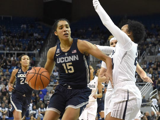 Gabby Williams drives against Nevada last November at Lawlor Events Center.