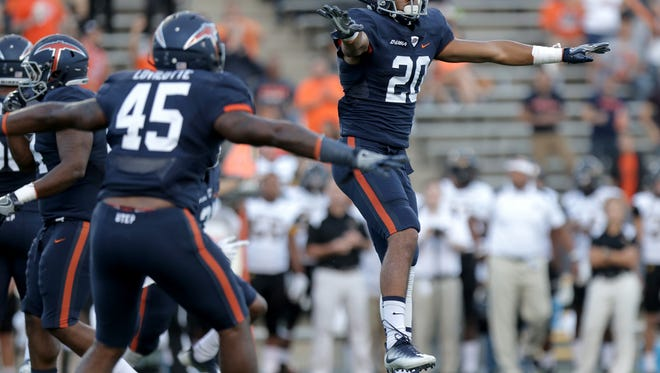UTEP defensive back Nik Needham signals incomplete after breaking up a fourth-down pass attempt by Southern Miss Saturday.