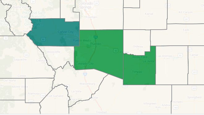 Screenshot of an interactive election map for state House District 47 from the Colorado Secretary of State's website. Otero and Pueblo counties are colored green representing candidate Ron Parker winning the most votes there; Fremont County is colored blue to represent Luck. Although Parker accumulated the most votes in Otero and Pueblo Counties, Luck gathered the most votes overall across District 47.