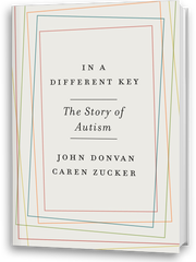 """Book cover, """"In a Different Key: The Story of Autism."""""""