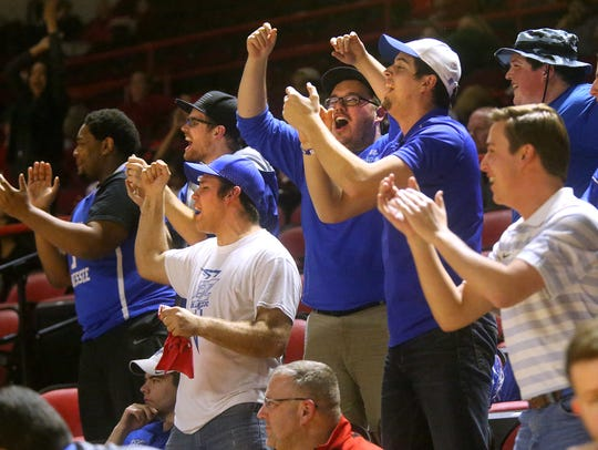MTSU fans cheer as Chase Miller enters the game against