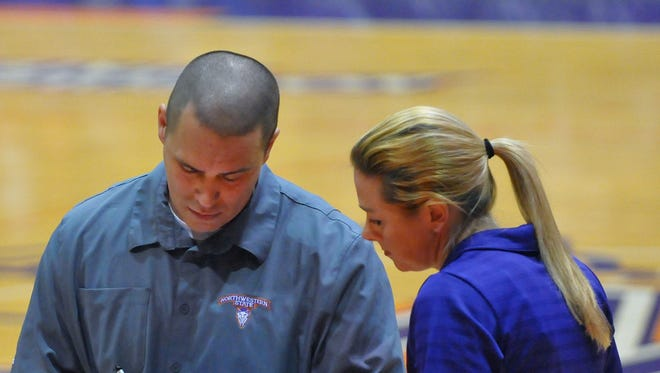 """NSU co-head coaches Hugh (left) and Stephanie Hernesman were named """"Coach of the Year"""" on the All-Louisiana Volleyball Team by the Louisiana Sports Writers Association"""