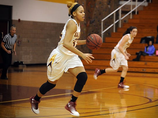 Salisbury's Kaylyn French dribbles up the court during