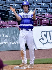 Brayden Trattles cheers on the Simon Kenton rally from his place at third base.