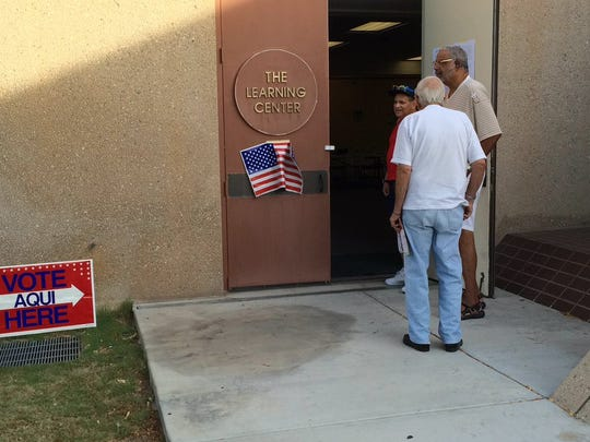 Voters in line at the Palm Springs Library June 7, 2016.