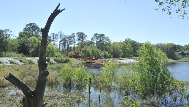 The new dam at Crescent Lake will be completed later this month.
