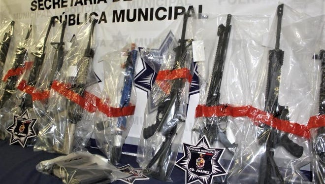 Juárez police seized a cache of U.S.-bought rifles belonging to La Linea cartel.