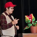 """Eric Davis, right, Katherine Corter and Juan Hernandez rehearse for Tulare Union's production of """"Little Shop of Horrors"""" on Tuesday, April 26, 2016."""