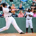 Shorebirds left fielder Conor Bierfeldt smacks a home run against Kannapolis on Friday night at Arthur W Perdue Stadium.