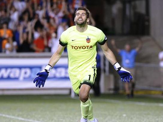 FC Cincinnati goalkeeper Mitch Hildebrandt celebrates