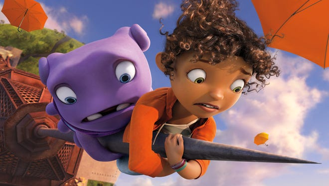 """""""Home,"""" with characters Oh (voiced by Jim Parsons), left, and Tip (voiced by Rihanna), was No. 1 in its debut weekend."""