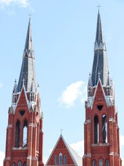 The  steeples of the Sweetest Heart of Mary Roman Catholic