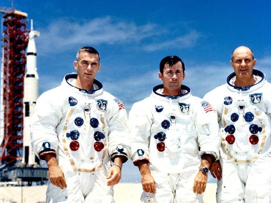 The crew of Apollo 10, from left, Eugene Cernan, John