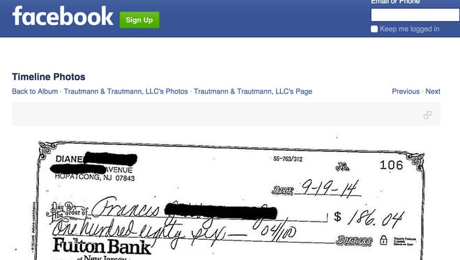 A screen capture of an image posted on March 11, 2015 on Facebook by law firm Trautmann & Trautmann, LLC of an alimony check paid by Diane Wagner of Hopatcong to her ex-husband.