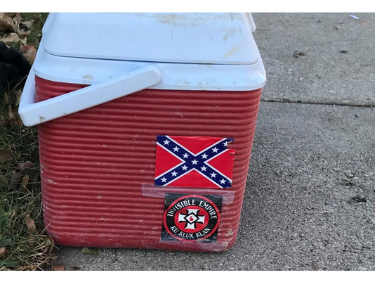 Cooler with Ku Klux Klan and Confederate flag stickers