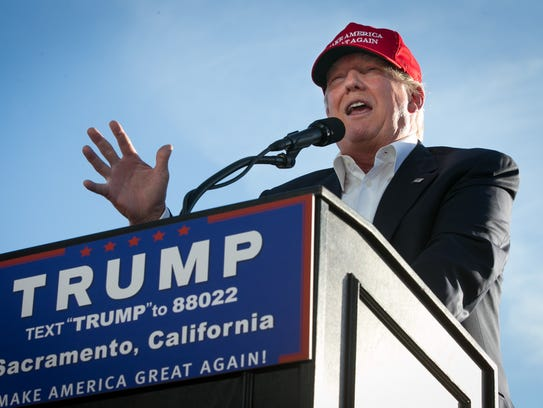 Donald Trump speaks at a campaign rally in Sacramento