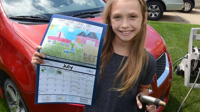 South Lyon's Caitlyn Adams, 11, recently won one of 12 spots in the 2016 Kids' Clean Water Calendar Contest. Adams' suggestion to keep the waterways clean and to decrease chemicals put into them is to wash your car on the grass of your lawn.