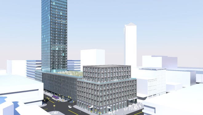 Local developer Blackbird Investments has proposed building a residential co-op tower, a parking garage and a hotel near Fifth and Court avenues. It is one of two skyscraper proposals for the site.