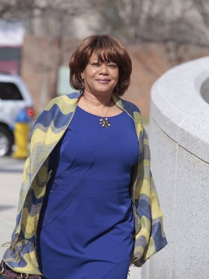Former Spring Valley Mayor Noramie Jasmin outside the U.S. District Court in White Plains before her sentencing for corruption.