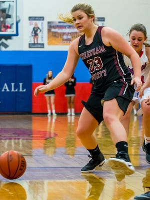 Cheatham County's Rachel Allen dribbles the ball upcourt during the Lady Cubs' win over Harpeth.