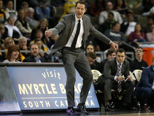 Northern Kentucky Norse head coach John Brannen instructs