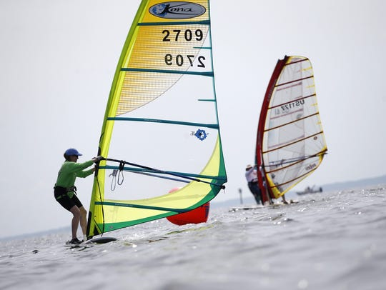 Windsurfers compete during the 43rd Annual Stephen