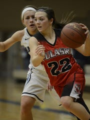 Mariah Szymanski (22) became Pulaski's all-time leading scorer on Tuesday in a victory at Sheboygan South.