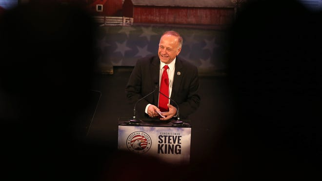 Iowa congressman Steve King draws a standing ovation after his introduction during the Freedom Summit on Jan. at Hoyt Sherman Place in Des Moines.