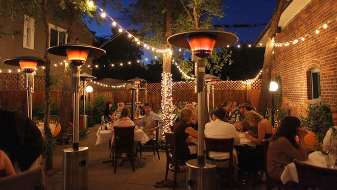 Patio dining at Brix Restaurant and Wine Bar in Flagstaff.