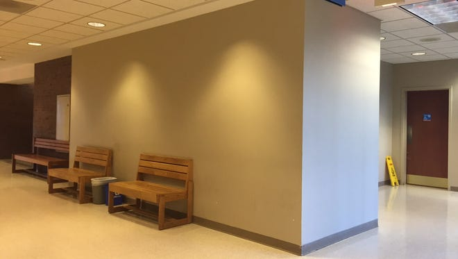 The hallway on the second floor of the Edward J. Costello Courthouse, with the women's bathroom on the right side. Police say a woman was allegedly raped in the bathroom last week.