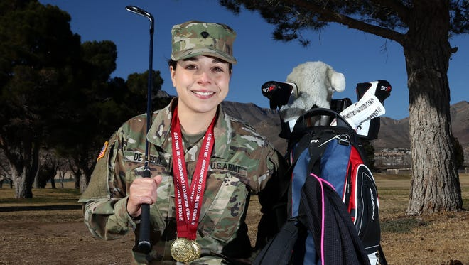 Spc. Melanie De Leon recently won the individual gold and helped the U.S. women win the team gold in the World Military Golf Championships in Sri Lanka.