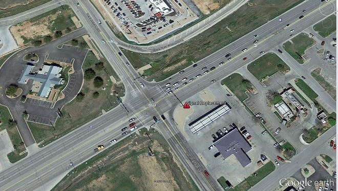 Workers will be replacing a signal pole on Sherwood Way at Southland Blvd. May 11.