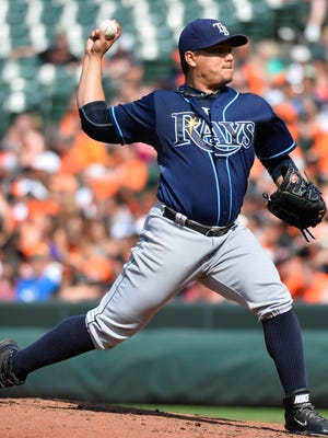 Tampa Bay Rays relief pitcher Erasmo Ramirez pitches during the second inning against the Baltimore Orioles at Oriole Park at Camden Yards.