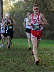 Shelby's Caleb Brown runs in the state cross country meet Saturday, Nov. 4, 2017, at National Trail Raceway in Hebron.