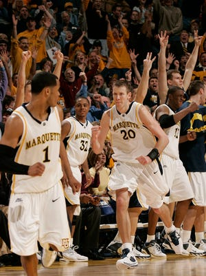 Marquette's Steve Novak is pumped up during his 41-point performance against No. 2 Connecticut at the BMO Harris Bradley Center on Jan. 3, 2006.