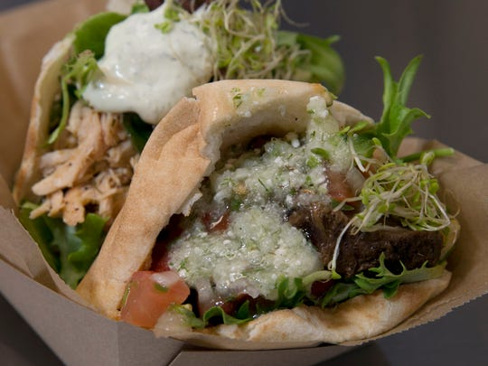 Beef and pulled chicken pitas at Greekamolé in Shrewsbury.
