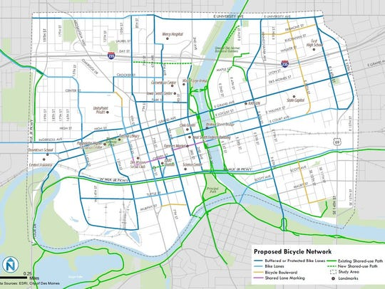 This proposal shows the new bike lanes that would be