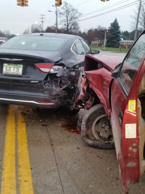 The driver of a pickup hit and damaged several vehicles near Lake Lansing and Coolidge roads in East Lansing on Nov. 30, 2016.
