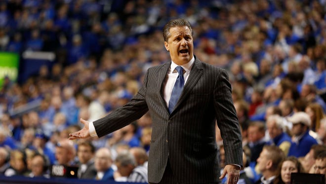 Kentucky Wildcats head coach John Calipari reacts during the game against the Arkansas Razorbacks in the second half at Rupp Arena.