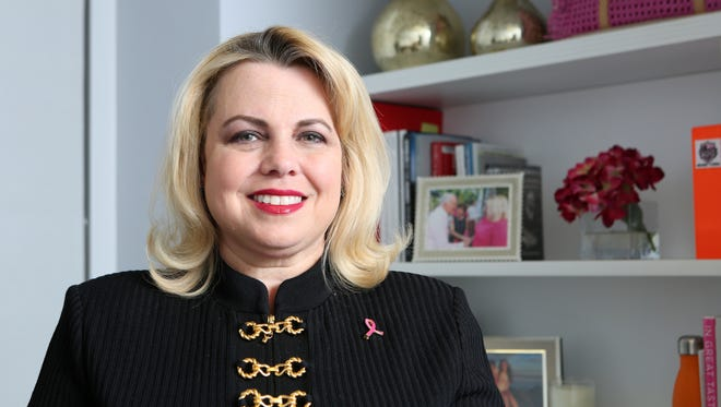 Scarsdale resident Stephanie Kauffman, who recently became the Breast Cancer Research Foundation's Chief Communications & Engagement Officer, is photographed in her office Feb. 24, 2016 in Manhattan. Kauffman made the move to the foundation from Universal StudiosÕ global branding division after having six of her closest friends diagnosed and treated for breast cancer.