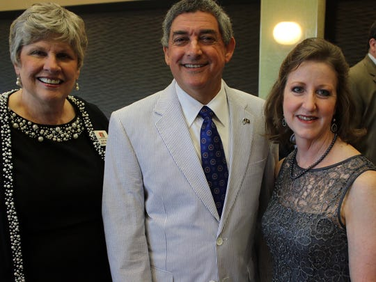 (left to right) Shreveport-Bossier Convention and Tourist Bureau Board Member Mary Dunn, Lt. Governor Jay Dardenne and SBCTB President Stacy Brown.